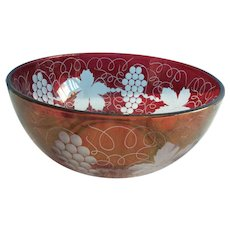 Bohemian/czech Glass Vintage Bohemian Ruby Red Flash Glass Large Bowl Selling Well All Over The World