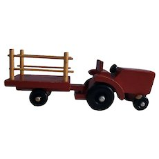 Very Vintage Red Wooden Tractor and Trailer With Black Wheels and Silver Hubs