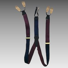 Coach Maroon and Black Suspender/ Braces Leather tabs and Brass Hardware