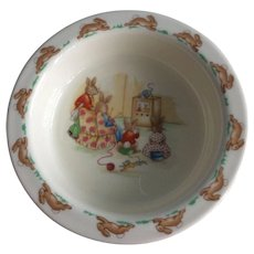 Royal Doulton Bunnykins watching TV porridge bowl