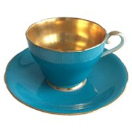 Aynsley gold interior 1950s c. York shape cup and saucer