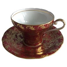 Aynsley 1950s . gold leafed, maroon, corset shaped cup and saucer