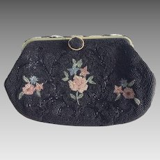 Glass beaded evening bag with flowers