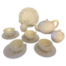 Beautiful 1940s Belleek eclectic tea set with 3 iconic patterns including shell footed Neptune cups