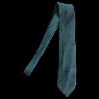 Giorgio Armani Green Necktie with Maroon Checks