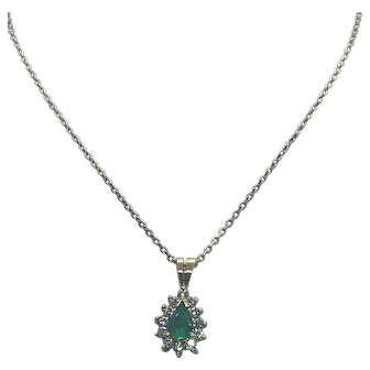 Pear Shaped Emerald and Diamond Necklace