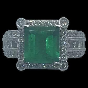 Stunning 3.68ct PC Emerald with 1.22ct Diamonds