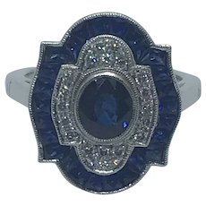 18k Sapphire and Diamond Fancy Shaped Vintage Ring