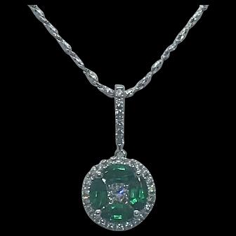 Diamond and Emerald Cluster Pendant