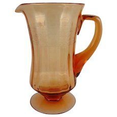 Fostoria SEVILLE Etched- Footed Amber Water Pitcher