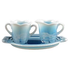 "Duncan & Miller ""Canterbury"" Blue Opalescent Individual Creamer & Sugar & Tray"