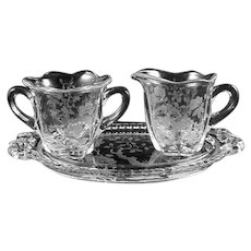 "Duncan & Miller ""INDIAN TREE"" ETCH- Individual Creamer & Sugar & Tray"