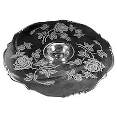 Heisey ROSE Etched Low Footed Cake Plate-Waverly Blank- 14 inch