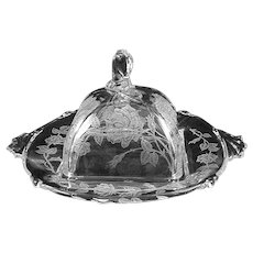 Heisey ROSE etched Covered Butter/ Cheese Dish