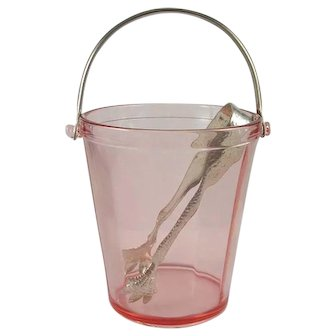 Fostoria FAIRFAX Pink Ice Bucket w/ Bail and Tongs