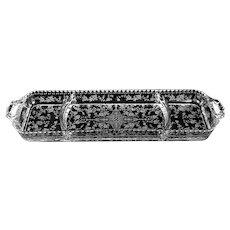 Cambridge ROSE POINT etch- 3 Part Relish- No.3500/ 112- 15 1/2 inch- (SCARCE)
