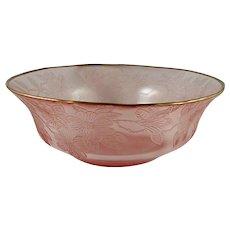 Macbeth-Evans DOGWOOD Pink Fruit Bowl w/ Gold Rim- 10 1/4 inch- Super Rare!