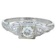 Art Deco .16ct Diamond Engagement Ring - 14k White Gold Vintage Size 6.25