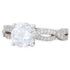 Tacori Semi Mount Engagement Ring - 18k White Gold Diamonds Ribbon 6.5 HT2528RD
