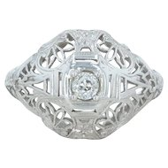 Art Deco .12ct Diamond Ring - 18k White Gold Filigree Mine Cut Vintage Size 6