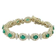 "6.50ctw Emerald & Diamond Halo Link Bracelet 6.5"" - 14k Yellow Gold Cluster"