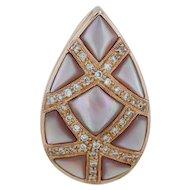 Mother of Pearl & .12ctw Diamonds Teardrop Pendant - 14k Rose Gold Statement