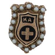 Kappa Alpha Order Badge - 10k Gold Pearls 1920s-1930s Fraternity Pin