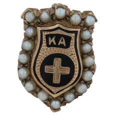 Kappa Alpha Order Badge - 10k Gold Pearls 1920s-1930s Fraternity Pin
