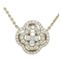 """New .58ctw Diamond Floral Station Necklace 17"""" 14k Yellow Gold Flower Chain"""