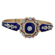 "Victorian Style .90ctw Diamond & Ruby Bangle 6.5"" - 18k Gold Platinum Bracelet"
