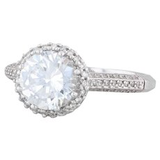 Tacori Diamond Halo Engagement Ring - Platinum Size 6.5 Semi Mount Pave 2502