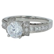 New Tacori Diamond Engagement Ring- Platinum Size 6.5 Semi Mount 2196 Heart Engraved