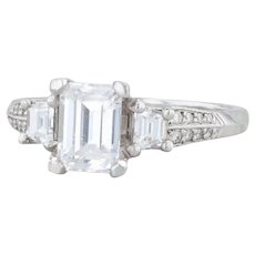 Tacori Diamond Engagement Ring - Platinum Size 7.5 Semi Mount 3-Stone Pave 2579