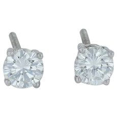 .76ctw Diamond Stud Earrings - Platinum .900 Pierced Screwback Classic
