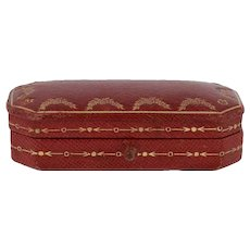 Authentic Cartier Jewelry Box - Floral Antique Red & Gold Button Clasp
