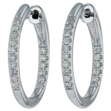 New .23ctw Diamond Inside Out Hoop Earrings - 14k White Gold Pierced Lock Odelia