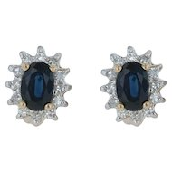 1.40ctw Sapphire Diamond Halo Stud Earrings - 14k Yellow & White Gold Pierced
