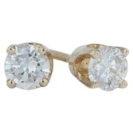 .48ctw Diamond Solitaire Stud Earrings - 14k Yellow Gold Pierced Screwback