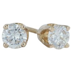 .48ctw Diamond Solitaire Stud Earrings - 14k Yellow Gold Pierced Screwback