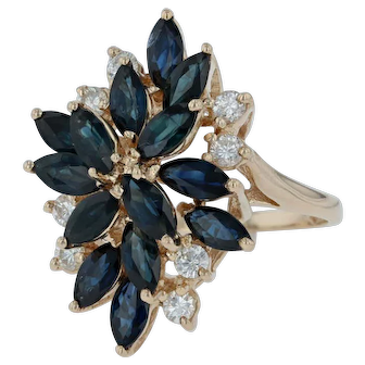 4.90ctw Sapphire & Diamond Cocktail Ring - 14k Yellow Gold Size 7.5
