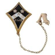 Kappa Alpha Theta Badge - 10k Gold Diamonds Vintage Sorority Pin & Chapter Guard