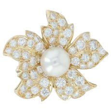 2.25ctw Diamond & Pearl Flower Brooch - 18k Yellow Gold Pin Cultured VVS1-2