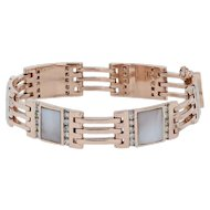 "1.75ctw Diamond & Mother of Pearl Link Bracelet 7"" - 14k Rose Gold"