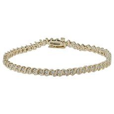 "1.08ctw Diamond Tennis Bracelet 7"" - 14k Yellow Gold Safety Clasp"