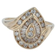 1ctw Diamond Cluster Cocktail Ring - 14k Yellow Gold Size 11.75 Bypass Teardrop