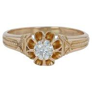 Antique .26ct Diamond Solitaire Engagement Ring - 18k Gold Size 7.25 Edwardian
