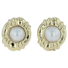 Mabe Pearl Statement Earrings - 18k Yellow Gold Pierced Omega Back