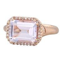New 3.03ctw Rose Quartz & Diamond Halo Ring - 14k Rose Gold Size 7 Matte Finish