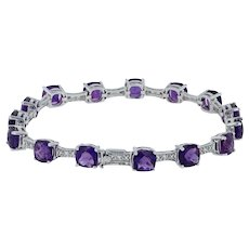 "14ctw Amethyst & Diamond Tennis Bracelet 7"" - 14k White Gold Cushion February"