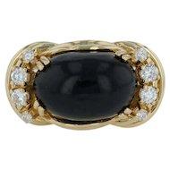 Jadeite & .30ctw Diamond Cocktail Ring - 18k Yellow Gold Size 5 Cabochon